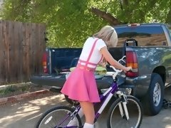 Kali Roses rides her bike dildo then takes her mom's bf's dick for a ride