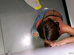 Adriana Chechik pleasuring lucky guy in public toilet