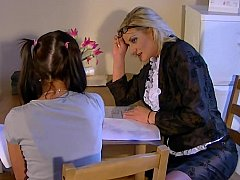 Teen babe seduced by her female tutor