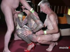 Slut with full body tattoo gets banged by old guys