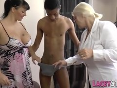 Brit granny in threeway rides black big dong - trio