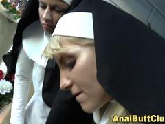 These super freaky nuns are eager for some mean toying