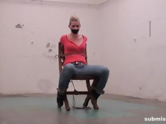 Angela chairtied tapegagged titgrabbed