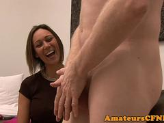 Classy milf wanking hard dick in cfnm action