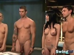 Swinger show with amateur couples experimenting