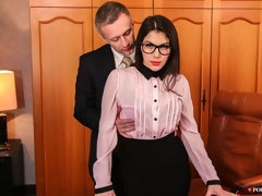 Sexy secretary Valentina Nappi fucked by two massive dicks
