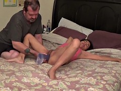 big dildo in a stepdaughter's pussy